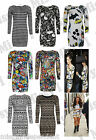 Womens Ladies Long Sleeve Comic Smiley Face Skull Aztec Tunic Bodycon Mini Dress