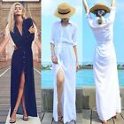 Fashion Women Long Sleeve Cotton Maxi Side Front Split Button Dress With Belt