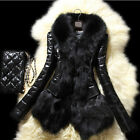 LA Stylish Women's Warm Fur Collar Coat Imitation Leather Cotton Jacket Parka CM