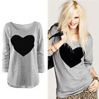 Actual Women T Shirt Heart Tops Sweatshirt Long Sleeve Blouse Plus Size Tee EWUK