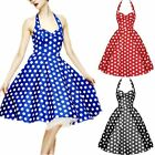 Women's Black/Blue/Red Summer Polka Dots Dot Halter Hepburn Slims Swing Sundress