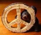 BLACK BEAR PEAKING PEACE SYMBOL SIGN Lodge Faux Wood Carved Cabin Decor Figurine