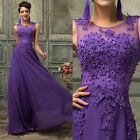 Beaded Long Prom Bridesmaid Evening Gown Party Formal Wedding Maxi Dress UK 6-20