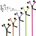 Zipper Headset Stereo 3.5mm Jack Earbuds Mic Headset Universal Metal Earphone
