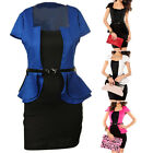 Women Dress Short Sleeve Flounce Ruffle Fashion Formal Business Work