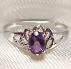Genuine Faceted Oval Amethyst .925 Sterling Silver Ring -- AMT116
