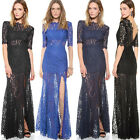 Women Lace Backless Bridesmaid Formal Wedding Party Prom Long Maxi Dress EW UK W