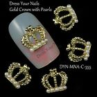 """Gold Metal """"CROWN"""" with White Pearls 3d Alloy  Nail Art - DIY - Craft - Bling"""