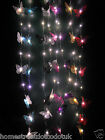LED Light Up 6 Butterflies Hanging Glitter Butterfly Garland In Choice Of Colour