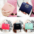 Ladies Cute Coin Purse Clutch Zip Wallet Small Bag Black PU Leather Card Holder