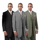 Men's 3 Piece Luxurious Wool Feel 4 Button Suit with Pants and Vest 5263V