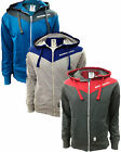 Brand New Mens Crosshatch Full Zip Hoodie Hooded Top Sweat Blue Grey Red S - XXL