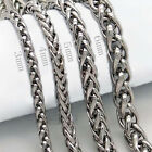 """3/4/5/6MM 18-40"""" Men/Women's Silver Stainless Steel Wheat Braided Link Necklace"""