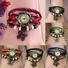 Womens Retro Leather Quartz Wrist Watch Butterfly Bracelet Decoration 7 Colors