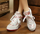 Punk Hidden Wedge Heel Womens Suede Leather Lace Up Sneakers High Top Shoes Size