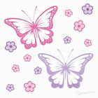 CHASING BUTTERFLIES bedroom WALL STICKERS girls removable fabric sticker pack