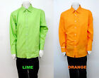 Men's CLENCH lime orange long sleeve James Bond cuffs casual shirt size 2XL