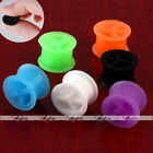 Pair Peace Sign Double Flare Flexible Silicone Ear Tunnels Plugs Flesh Expander