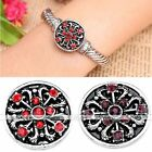 1x Crystal Metal Heart Carved Button Charm Snap Fit Punk Bracelet DIY Gift