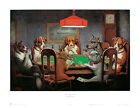 Dogs Playing Poker A Friend in Need Coolidge Art Classic Print Poster 25x19