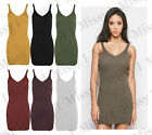 Womens Sleeveless Cami Strappy Knitted Bodycon Ribbed Vest Long Top Mini Dress