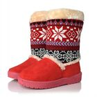 Womens winter warm shoes round toe faux suede pull on mid calf floral boots