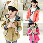 Spring Autumn Baby Kids Child Girls Princess Owl Print Pockets Coat Jackets 2-7Y