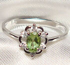 Genuine Green Peridot .925 Sterling Silver Ring -- PD957