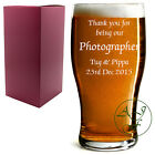 Personalised 1 Pint Tulip Beer Lager Glass Sleever Engraved Wedding Photographer