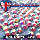 1 GROSS CRYSTAL AB SS12 IRON ON HOTFIX RHINESTONES QUALITY DIAMOND CRAFT BEADS