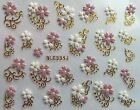 Внешний вид - Nail Art 3D Decal Stickers White & Pink Flowers Gold or Silver Accents BLE334J