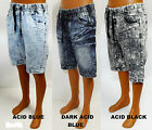 Men's SOUTHPOLE  acid blue dark blue  black  denim joggers  shorts 15121-3251