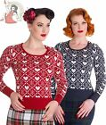 HELL BUNNY womens AURORA heart snowflake XMAS christmas knit JUMPER NAVY RED