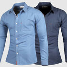 Newest Men's Long Sleeve Slim Fit  Denim Tops Button Front Casual Shirts  Blouse