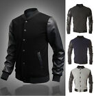 TOPs Casual PU Leather Men's Slim Fit Baseball Sweaters jackets Outerwears Coats