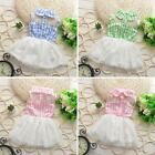Sweet Baby Girls Kid Princess Dress Checks Vest Tulle Skirt Toddler Clothes F15