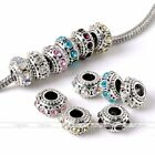 Silver Plated Rondelle Crystal Spacer Loose Bead Fit European Charm Bracelet DIY