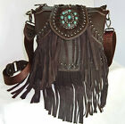 Trinity Ranch® Leather Waterfall Fringe Crossbody Bag w/Turquoise Accent-Coffee