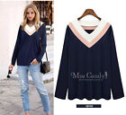 2015 Women Sexy cotton V Neck Tops long Sleeve Shirt Casual Blouse plus size