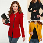 BEAUTIFUL Women Sleeve POLO Neck Solid SLIM Suit Jacket Blazer Coat Zipper UK EW