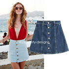 sk99 CFLB Button Vintage High Waisted Skater Mini A-line Denim Skirt 10 12 14
