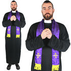 MENS PRIEST COSTUME VICAR RELIGIOUS FANCY DRESS ROBE AND SCARF STAG DO S M L XL