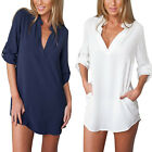 Womens Casual Long Sleeve V-Neck Oversize Loose Chiffon T Shirt Top Blouse Dress