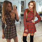 Vogue Women Long Sleeve Vintage Lattice Party Evening Cocktail Casual Mini Dress