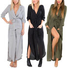 Women's Split Maxi Long Dress Loose Shirt Evening Party Wrap Dresses Plus Size