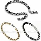 Punk Mens Stainless Steel Byzantine Chain Link Lobster Clasp Bracelet Cuff Gift