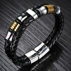 Hot Selling 316L Stainless Steel Chain Charm Men's 100% Leahter Bracelet Jewelry