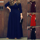Sexy Womens Casual V Neck Bodycon Long Sleeve Bandage Party Long Maxi Dress Gown