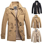 Stylish Mens Business Long Jacket Parka Outwear Overcoat Trench Coat With Belt