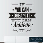 Wall Stickers Dream Achieve Office Quote Art Decals Vinyl Decor Room Home